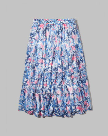 kids tiered floral midi skirt