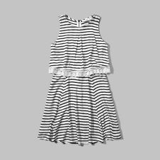 girls stripe overlay dress