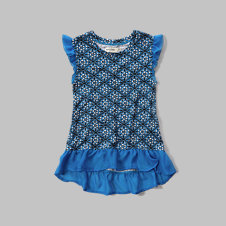 girls patterned ruffle tee