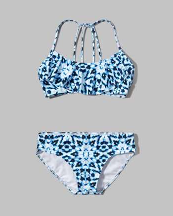 kids strappy ruffle two-piece swimsuit