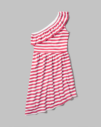 kids one shoulder asymmetrical dress