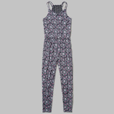 girls patterned strappy jumpsuit