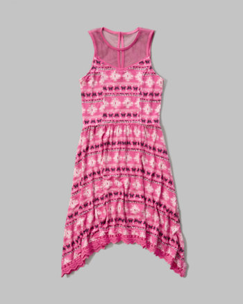 kids lace hem knit dress