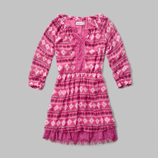 girls patterned lace hem peasant dress