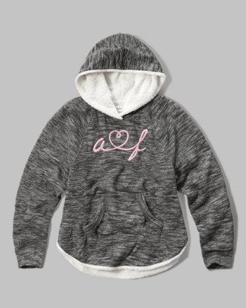 kids sherpa lined logo hoodie