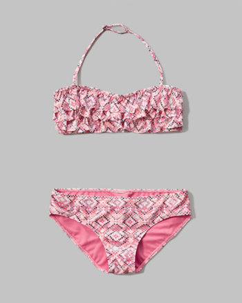 kids ruffle bandeau two-piece swimsuit