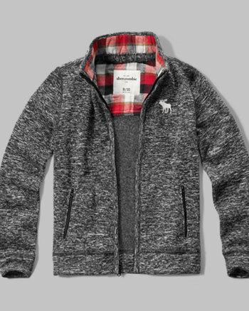 kids textured full-zip sweatshirt