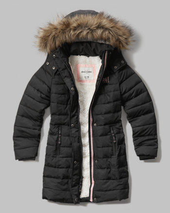 kids sherpa lined quilted parka