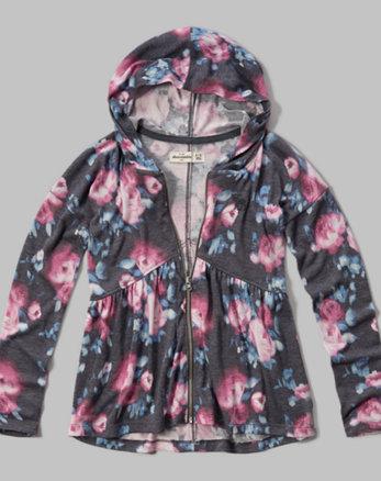 kids peplum full zip hoodie