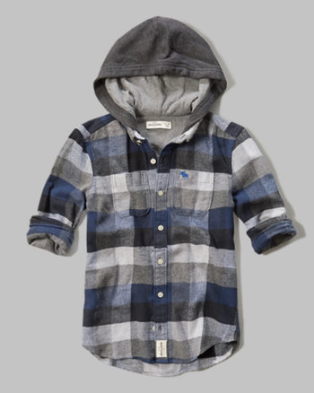 kids hooded plaid shirt