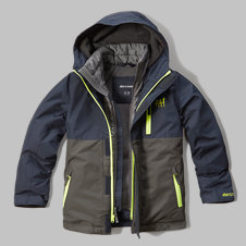girls a&f all-weather double zip jacket