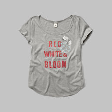 girls red, white & bloom graphic tee