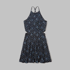 girls star print cutout skater dress