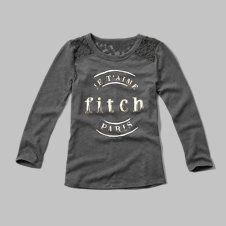 girls lace shine graphic tee