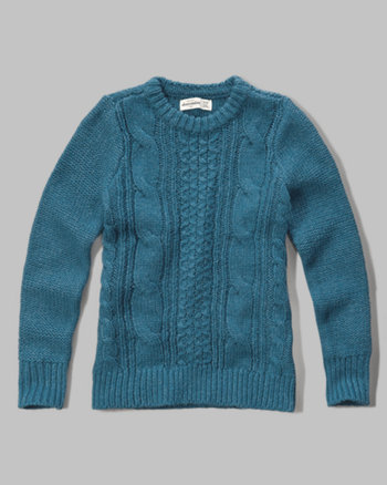 kids cable-knit crew sweater