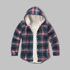 girls sherpa lined hooded plaid shirt