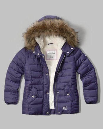 kids sherpa lined puffer jacket