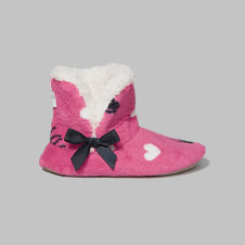 girls patterned sherpa slippers