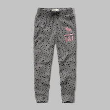 girls patterned shine logo joggers