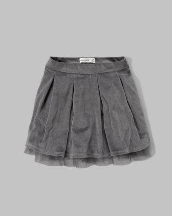 kids velvet tulle-hem skirt