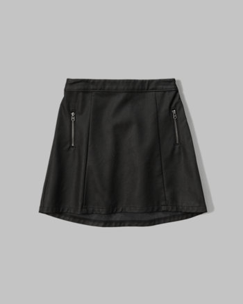 kids vegan leather a-line skirt
