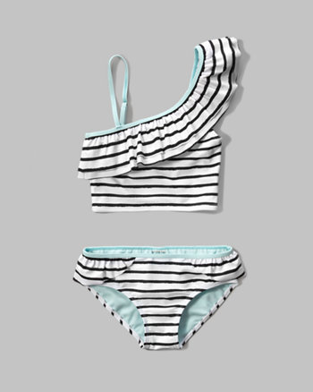 kids ruffle one-shoulder two-piece swimsuit