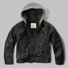 girls sherpa-lined faux leather jacket