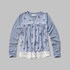 girls lace hem top