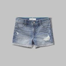 girls a&f high rise denim shorts