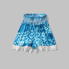 girls lace hem knit shorts