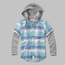 girls plaid flannel layered hoodie