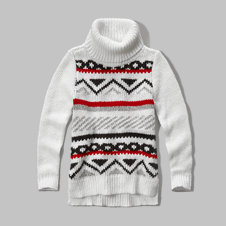 girls mixed-stitch turtleneck sweater