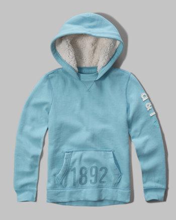 kids sherpa lined logo sweatshirt