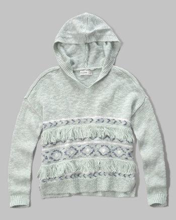 kids fringe hooded sweater