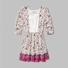 girls lace panel peasant dress