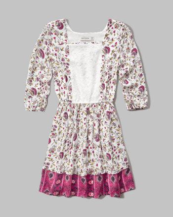 kids lace panel peasant dress