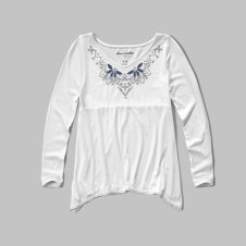 girls embroidered shine knit top