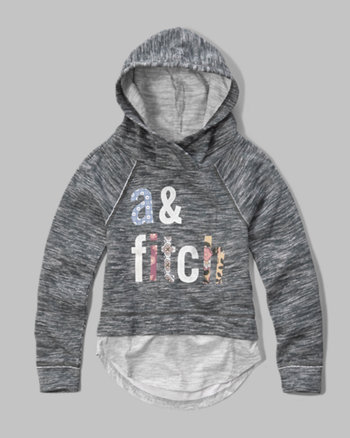 kids layered logo graphic hoodie
