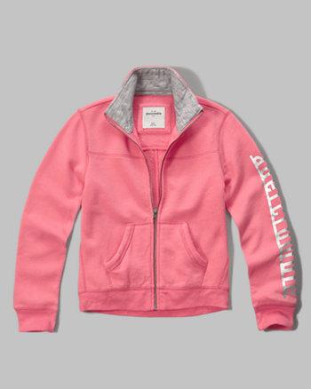 kids shine logo full zip sweatshirt