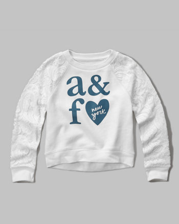 kids lace panel crew sweatshirt