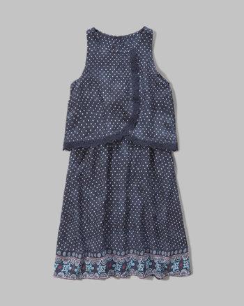 kids patterned overlay dress