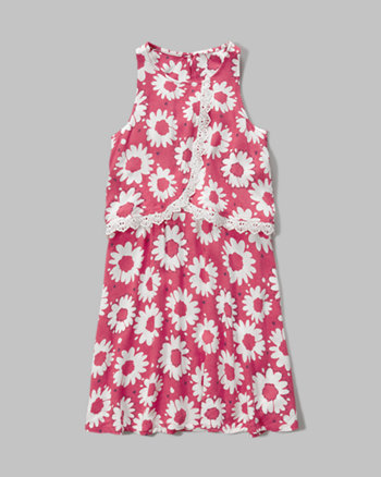 kids patterned overlay dress