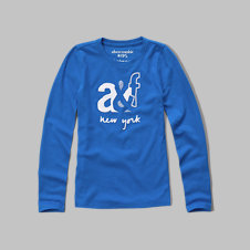 girls long sleeve logo graphic tee