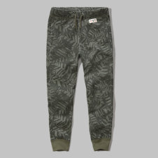 girls a&f pattern fleece joggers