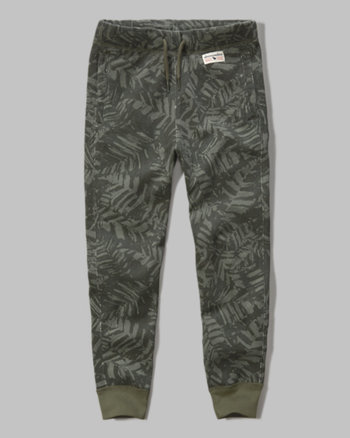 kids a&f pattern fleece joggers