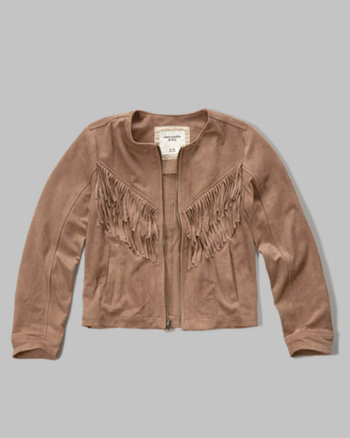 kids faux suede fringe jacket