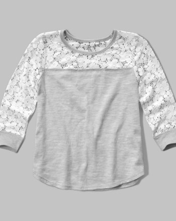 kids lace panel easy tee