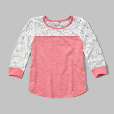 girls lace panel easy tee