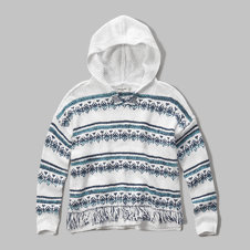 girls hooded open stitch sweater