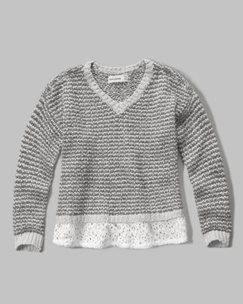 kids lace hem sweater